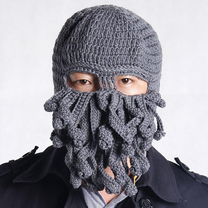 Handmade Funny Tentacle Octopus Hat Crochet Cthulhu Beard Beanie
