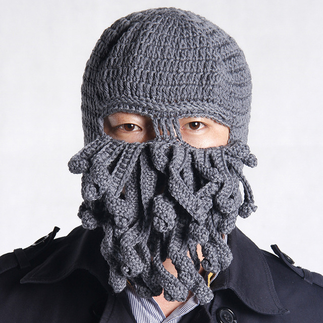 2ba0934c765a8 Handmade Funny Tentacle Octopus Hat Crochet Cthulhu Beard Beanie Men s  Women s Knit Wind Mask Cap Halloween