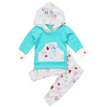 Oklady Baby Girl Clothes Long Sleeve Baby Outfits Floral Hoodie Tops and Pants Sets 2Pcs