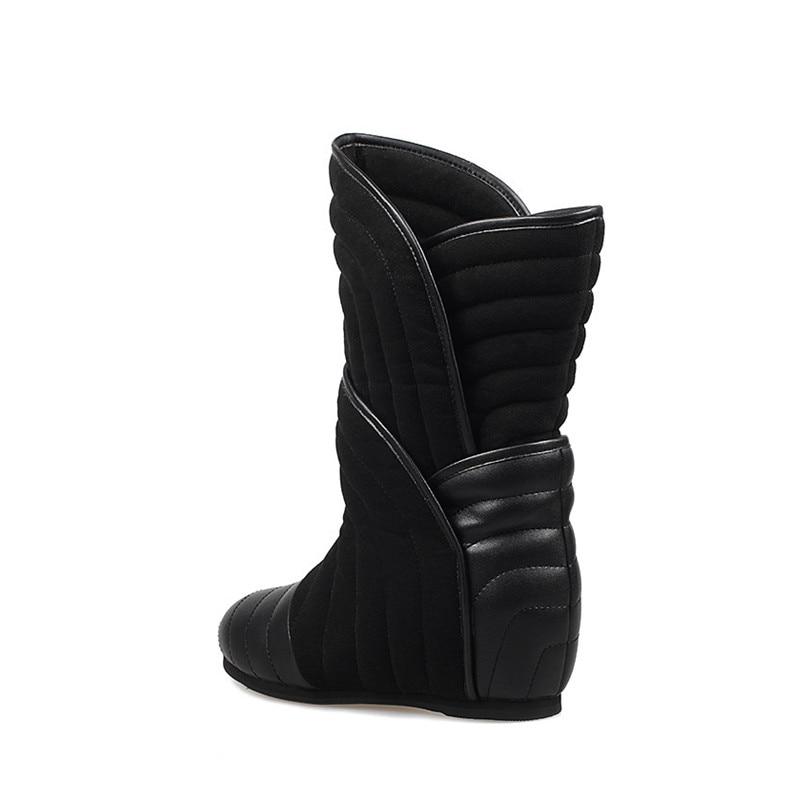 Bottes Véritable Bottine De Femmes Noir Chaude Croissante Chausson Hauteur En Cuir 6 D'hiver Cm Femme Chaussures Botas Mode Neige Jadyrose WxXqgzn