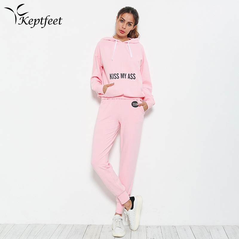 2017 Autumn Pink Leisure Sportswear Sports Suits for Women Letter Print Hooded Sweatshirt + Long Pants 2 Pcs Set Woman Tracksuit plus size letter print hooded sweatshirt dress