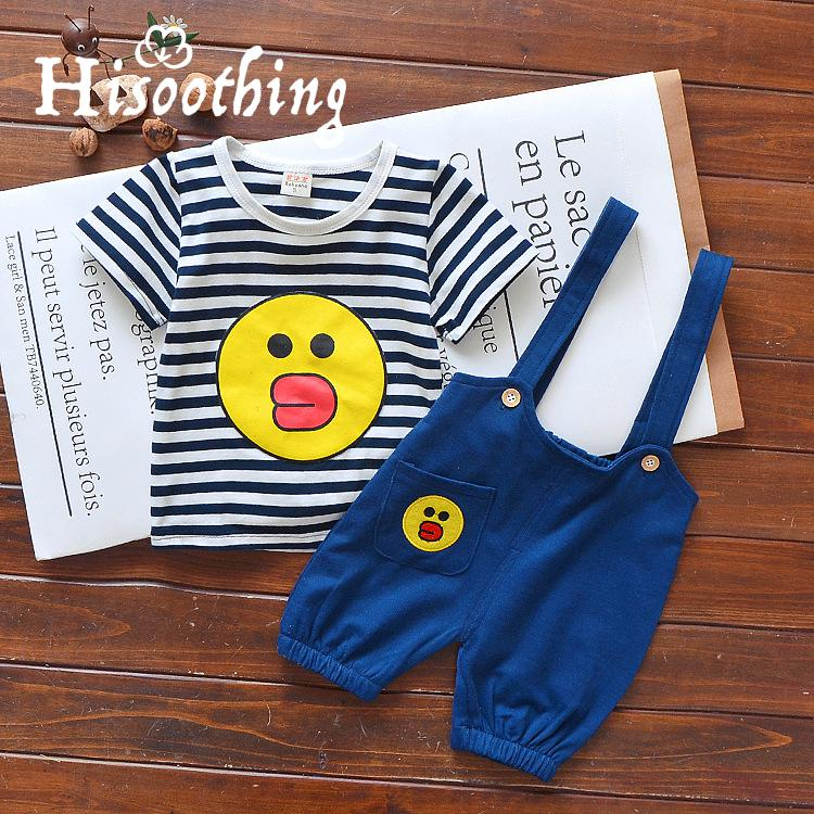 New Summer Toddler Boys Clothing Set Cartoon Yellow duck Baby Boys Short-sleeve T-shirt+Bib Pants 2pcs Set Kids Clothes for 1-3Y 2017 new summer boys clothes short t shirt pants 2pcs children clothing set casual kids suits for toddler boys page 8 page 4
