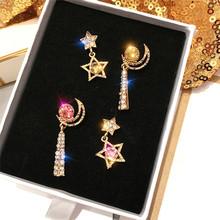 2019 New Arrival Alloy klasyczne kobiety Dangle kolczyki Star-moon asymetryczne kolczyki kobiece kolczyki kolczyki dla damska biżuteria tanie tanio Spadek kolczyki Moda Ze stopu cynku Klasyczny Księżyc NoEnName_Null