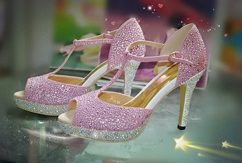 Pink Sexy High Heel Sandals Shoes Fashion Woman Ladies Dress Shoes campagus Platform Peep Toe Shoe Bridal Dress Shoes
