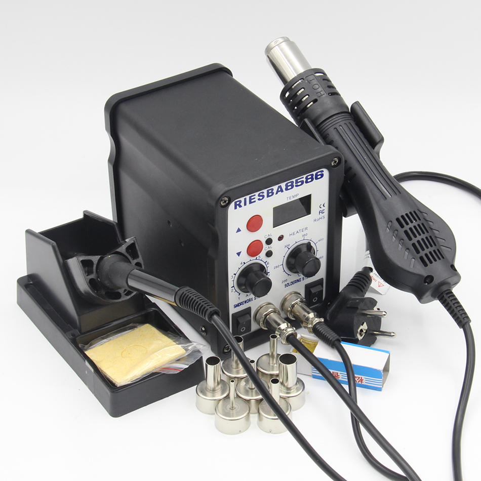 Riesba 8586 2 In 1 SMD Rework Station Soldering Station Hot Air Welding Station Tool For Electronic Products Soldering Tools