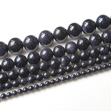 LIngXiang  Fashion Jewelry 4/6/8/10/12mm Blue sand loose beads are suitable for DIY womens bracelet necklace
