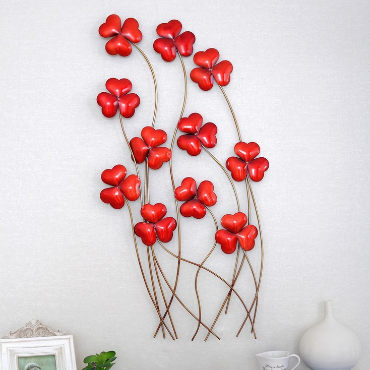 Framed Red Flowers Wall Art