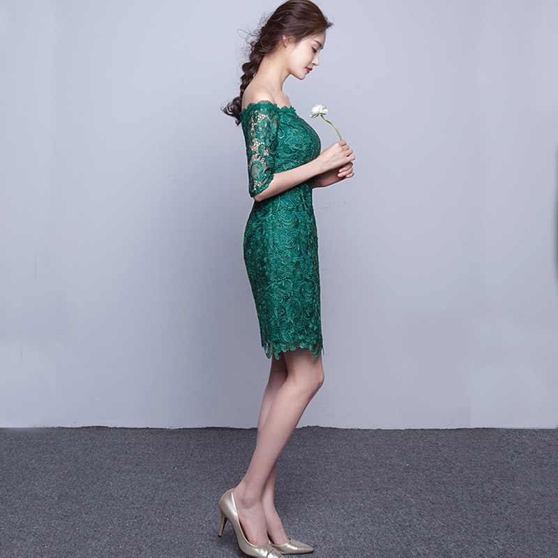 DongCMY Nieuwe 2019 korte mode elegante medium mouwen kanten groene - Jurken voor bijzondere gelegenheden - Foto 3