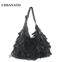 CHSANATO Fashion Women Designer Handbag High Quality Genuine Leather Bag Tassel Messenger Bags Patchwork Lady Tote