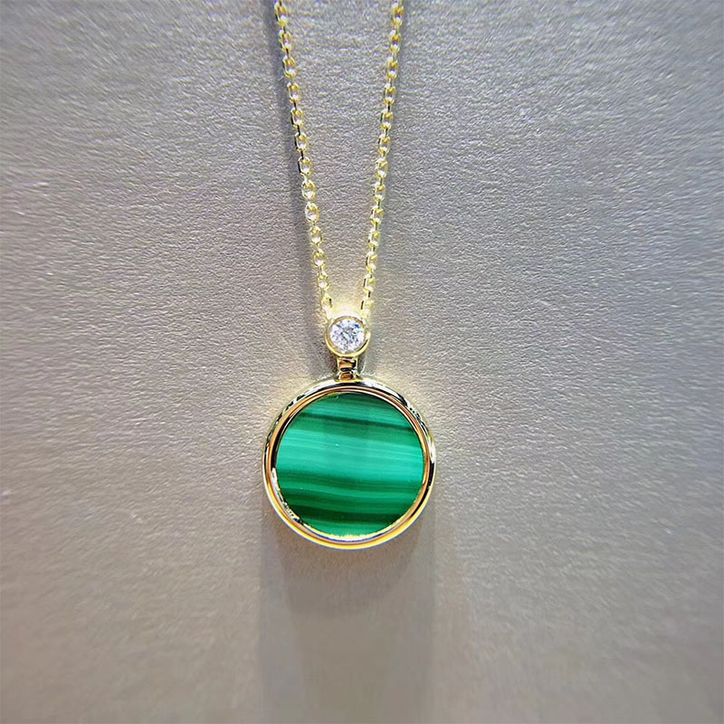 ANI 18K Yellow Gold Pendant Necklace Malachite Color Gemstone Jewelry Real Natural Diamond Fashion Women Engagement Necklace fashion candy color faux gemstone pendant alloy necklace for women