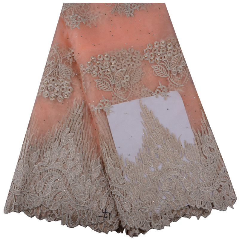 Peach African French Lace Fabric High Quality African Tulle Lace Fabric For Wedding Beaded French Lace