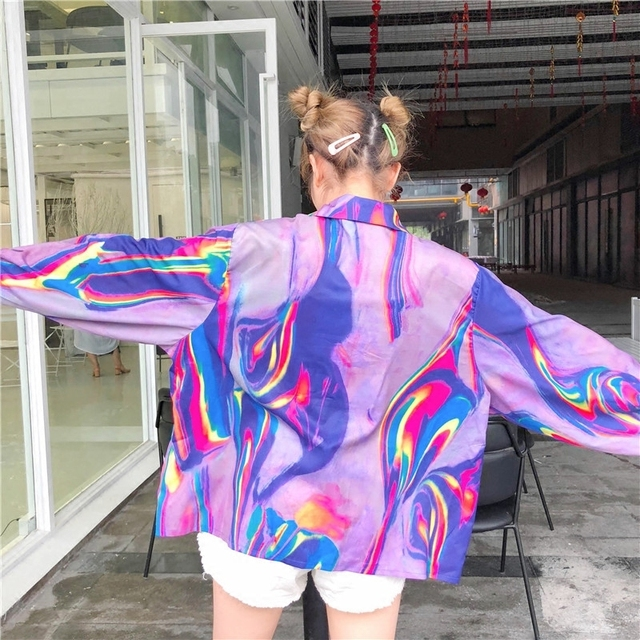 2018 New Summer Fashion Clothes Batwing Full Sleeve Sunscreen Cardigan Turn-down Collar Colorful Jacket Printed WA70814XL 4