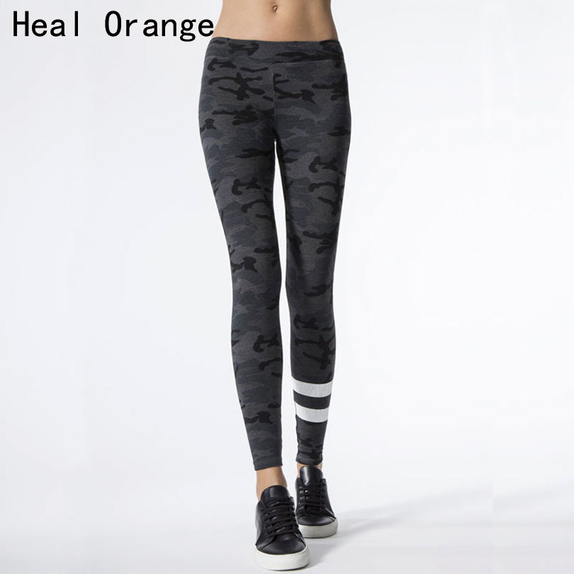 HEAL ORANGE Women Yoga Sports Pants Camouflage Print Elastic Fitness Sports Leggings Sport Tights Women Gym Leggings Women active blue random print yoga leggings