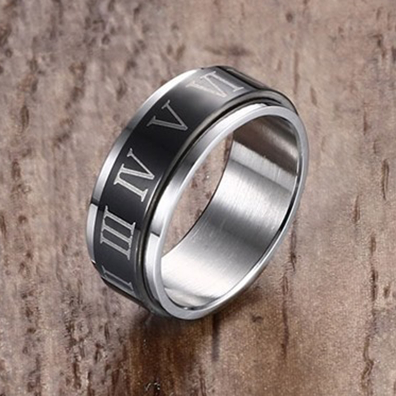 Men Fashion Roman Ring Quality Stainless Steel IP Black Plated Spinner Ring