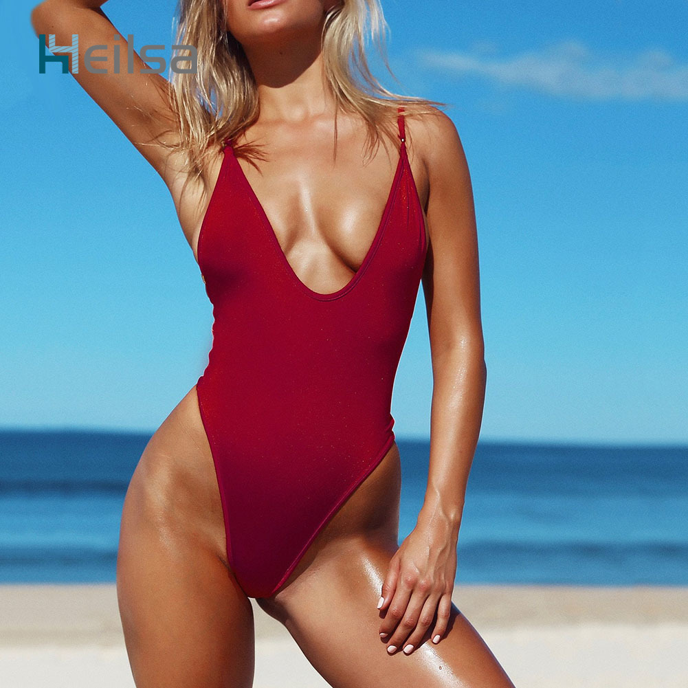 Swimwear Women One Piece Swimsuit 2018 Sexy Solid Color Swimming Bathing Suit Beach Bikini Bodysuit Monokini Plus Size M L XL tequila por favor letter custom swimsuit one piece swimwear bathing suit women sexy bodysuit funny swimsuits jumpsuits rompers