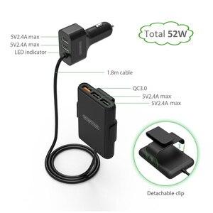 Image 4 - Chargeur de voiture NTONPOWER 5 Ports USB QC 3.0 avec câble dextension 1.8m avec attache détachable pour téléphone portable tablette GPS chargeur de voiture