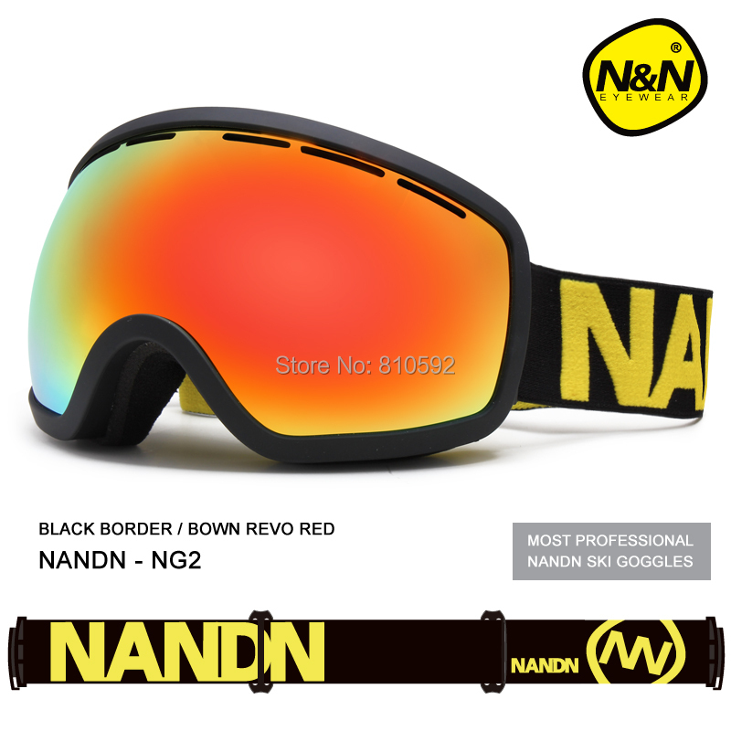 NANDN 8 Colors Skiing Glasses Double Layer Antimist Lens Wide Vision Windproof Ski Eyewear Goggle for Men Women Lens Changeable
