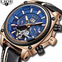 2019 LIGE 新メカニカルメンズ腕時計高級自動機械腕時計男性の革防水スポーツ腕時計メンズビジネス時計 + ボックス