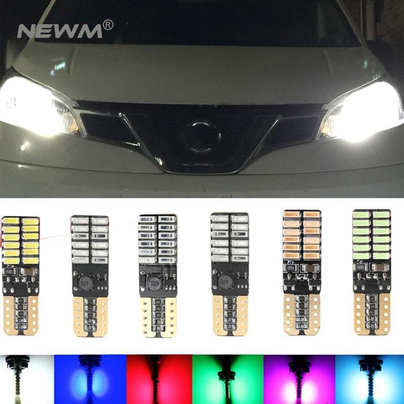 4x в T10 194 W5W Автомобильные светодиодные лампы 12 V Автоматический лампада лампы габаритные огни 5W5 canbus для Т 10 Да2.1x9.Бесплатные 5Д 4014 24smd кри 12В ошибки ампулы