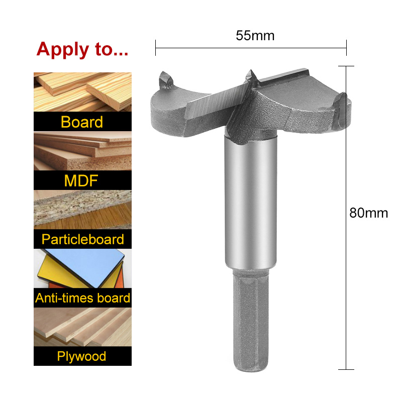 HOEN 55mm Rotary Cutting Drill Bits Woodworking Nail Self Centering For Metal Tungsten Carbide Square Hole Drill Bit