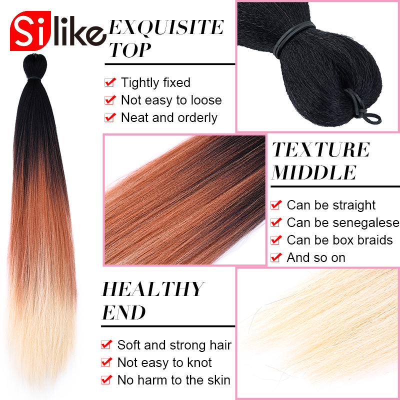 Hair Braids Orderly Silike Pre-stretched Easy Braiding Jumbo Braids Pre-feathered Natural Layers 24inch Synthetic Lightweight Wear Hair Extension