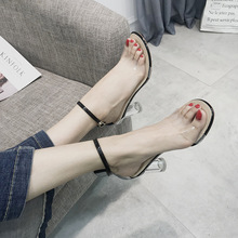 Europe Summer 2019 Luxury Women Sandals Clear Heels Fashion Sexy High Buckle Strap Casual Shoes Woman