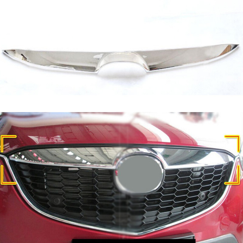 Front Center Grill Cover Grille Trim For Mazda 12 13 CX-5 CX5 2012-2013 1Pc ABS Chrome montford abs chrome front upper grille center grill cover around trim covers for lexus nx nx200 nx200t nx300h 2015 2016 2017 car