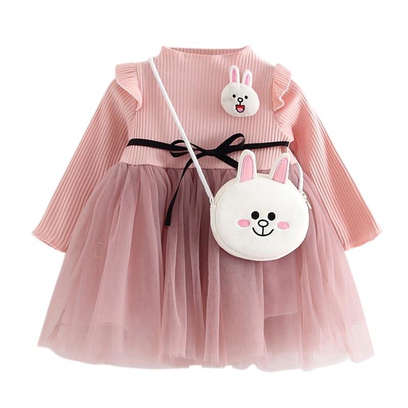 New 2018 Spring Autumn Baby Girl Dress Cotton Mesh Patchwork Princess Girl Dress Long Sleeve Toddler Kids Dresses for Girls
