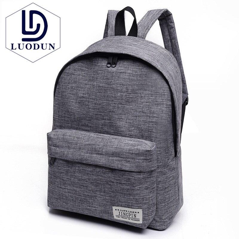 LUODUN Canvas shoulder bag female high school student bag Korean tide small fresh college wind backpack male fashion travel bag