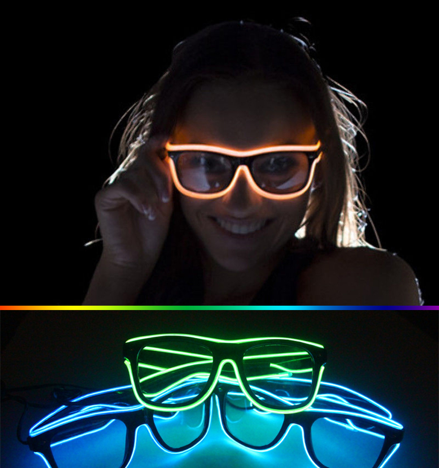 3 Modes quick Flashing EL LED Glasses Luminous Party Lighting Colorful Glowing Classic Toys For DJ Bright Light, Holiday gift  muñeco buffon