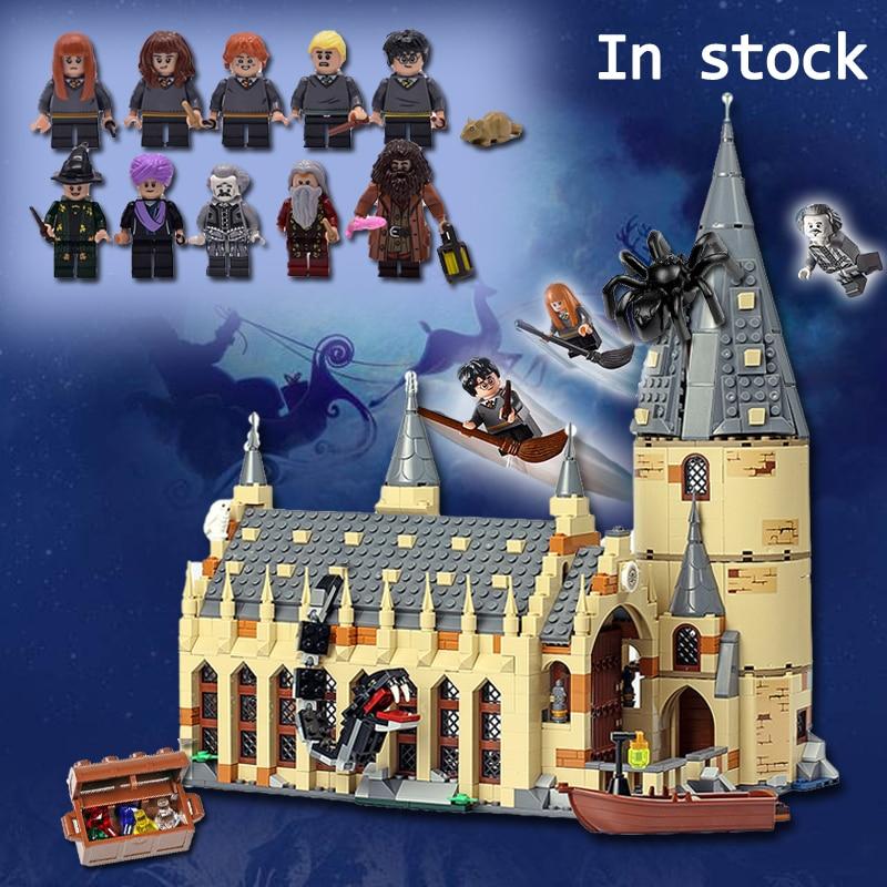 Харри фильм Поттер Совместимость с Legoings 75954 Хогвартс замок стены набор строительных Конструкторы Дом Модель Дети игрушечные лошадки