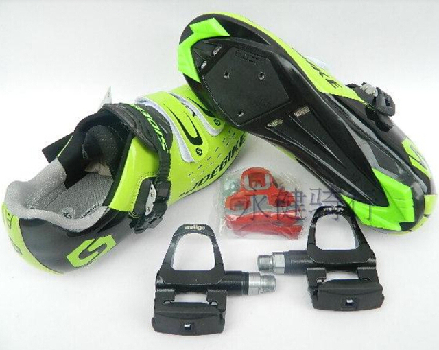 2014 Green Race Road Bike Shoes Wellgo Pedal Clip Road Racing Bicycle Shoes