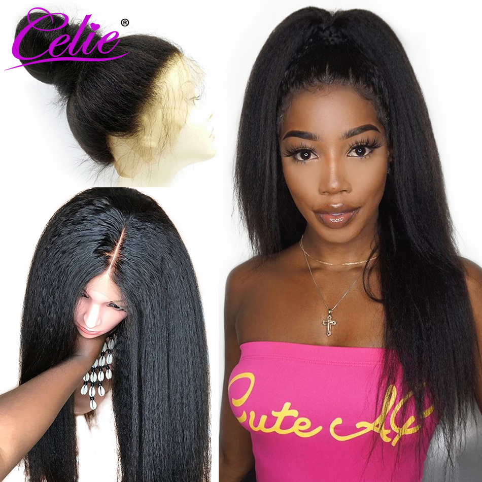 Celie 360 Lace Frontal Wig Kinky Straight Wig Lace Front Human Hair Wigs Brazilian Lace Wig