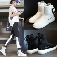 Women's Socks Sneakers Casual Flat Shoes High top Elastic Breathable Off White Shoes Socks Sports Running Shoes Female Footwear