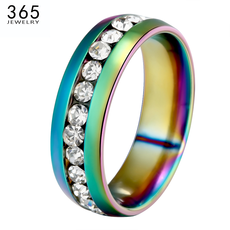 High Quality Stainless Steel Woman Rings 4 Colors Elegant Finger Ring Wedding Full CZ Stone Lady Jewelry Party Gift