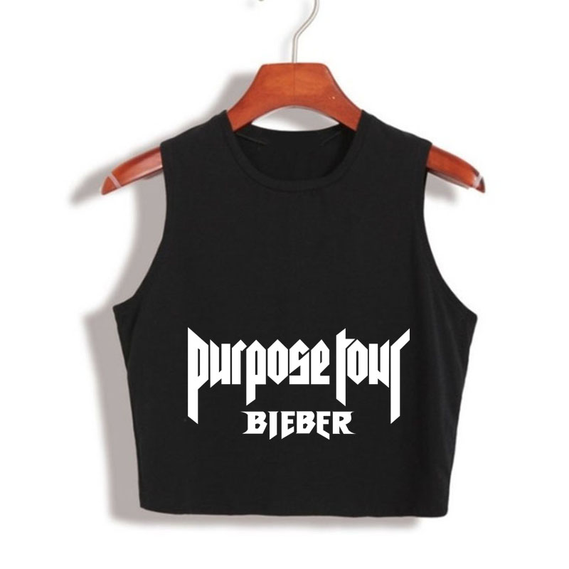 Women S Crop Top Harry Styles Justin Bieber Purpose Tour Cropped Tank Top Summer Fashion Workout