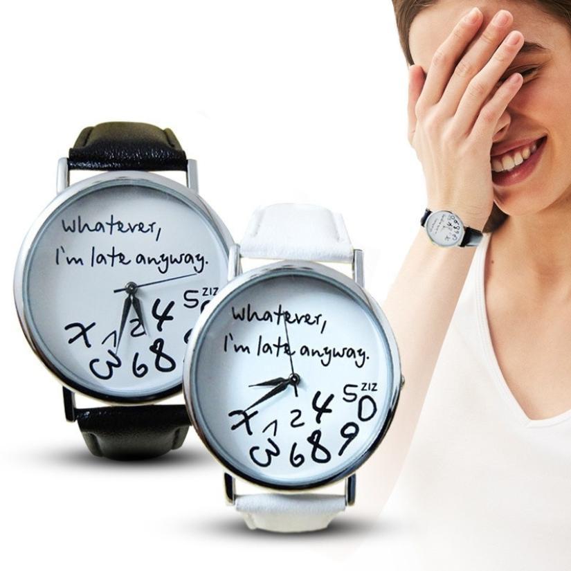 Mance что я поздно в любом случае с надписью кожа Для мужчин Для женщин часы свежие Новый стиль женские наручные женские часы Лидер продаж # F