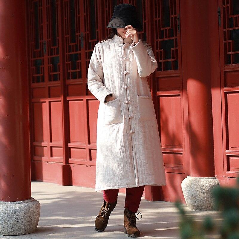 Johnature Buttonlong Manches Se Épais wine 2018 Nouveau rouge Red Femmes Chinois Style Chaud Blue Linen Hiver Poches Linge Coton Manteaux dark Parkas Color noir vnN8mO0w