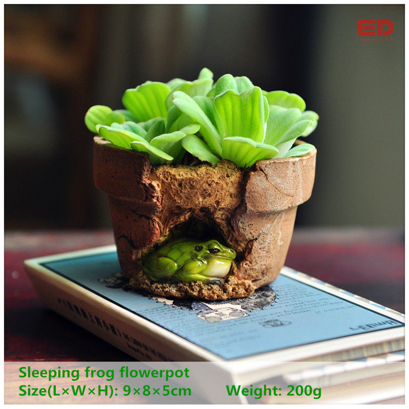 Everyday Collection Garden Ornament Frog Flowerpot Bonsai Outdoor Planter Decoration Round Red Clay Flower Pots