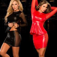 Сексуальные костюмы, Женская Экзотическая одежда, полный костюм из латекса, женское белье, Babydoll из искусственной кожи, экзотическая Одежда для танцев, ночное платье, черный, красный, 2 шт