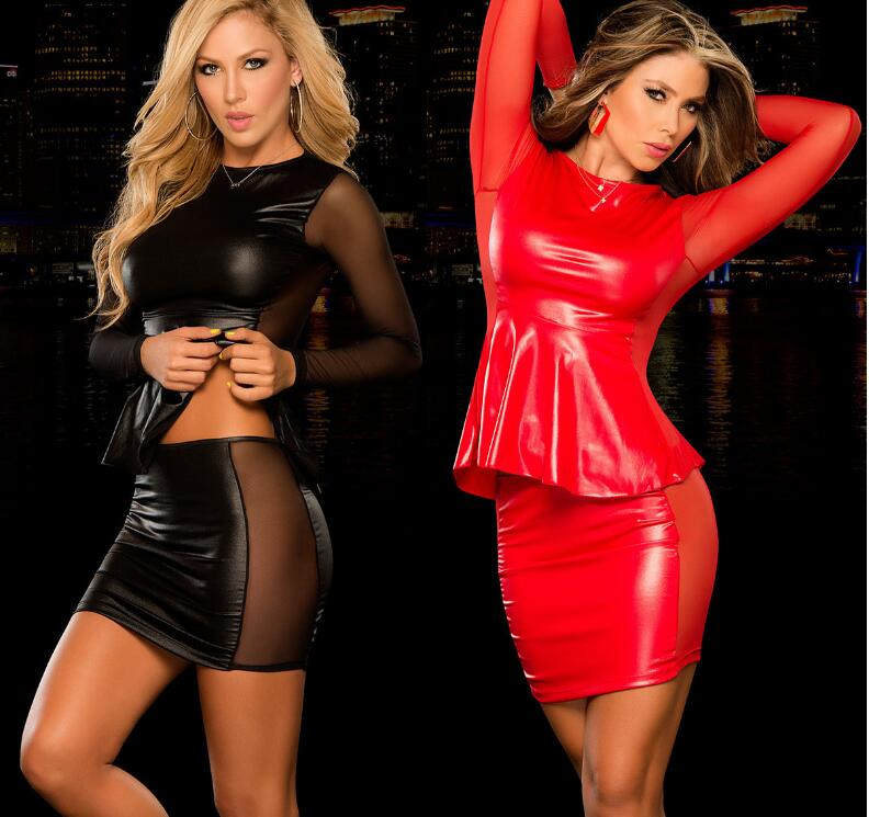 Sexy Costumes Womens Exotic Apparel Full Body Latex Suit Lingerie Babydoll Pu Leather Exotic Dancewear Night Dress Black Red 2ps plus size women in leather