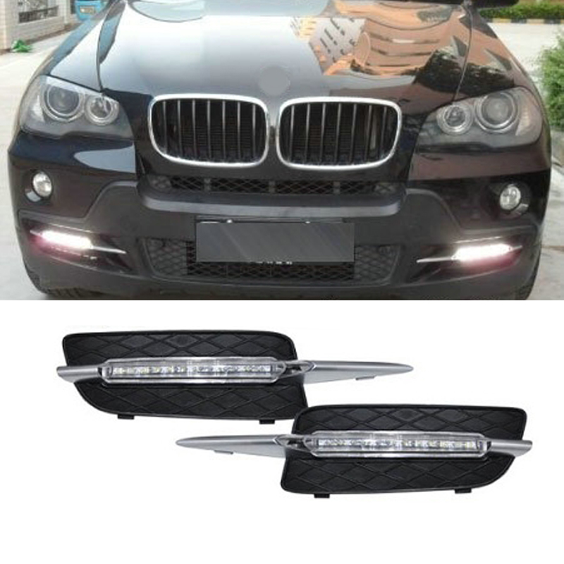 2x LED DRL Daytime Running Day Driving Fog Lamp Light For BMW X5 E70, 12W waterproof led drl daylight kit turn signal light 1 pair metal shell eagle eye hawkeye 6 led car white drl daytime running light driving fog daylight day safety lamp waterproof