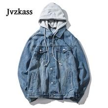 Jvzkass oversize Harajuku Style Wash Water Old Loose BF Jeans Hooded Fake Two Denim Jacket Women Spring Z184