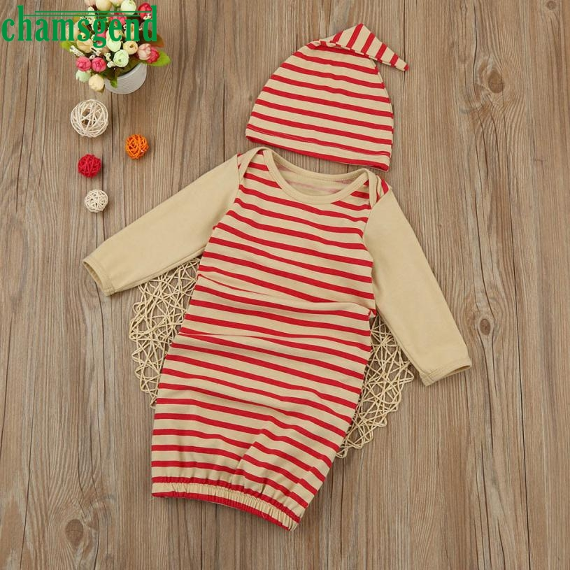 Childrens clothing Red fashion Newborn Infant Kids Baby Girl Long Sleeve Pajamas Gown+Ha ...