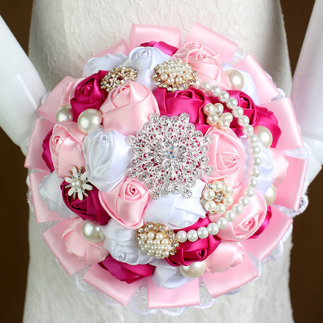 2015 Wedding bridal bouquets hand made artificial ribbon flower ...
