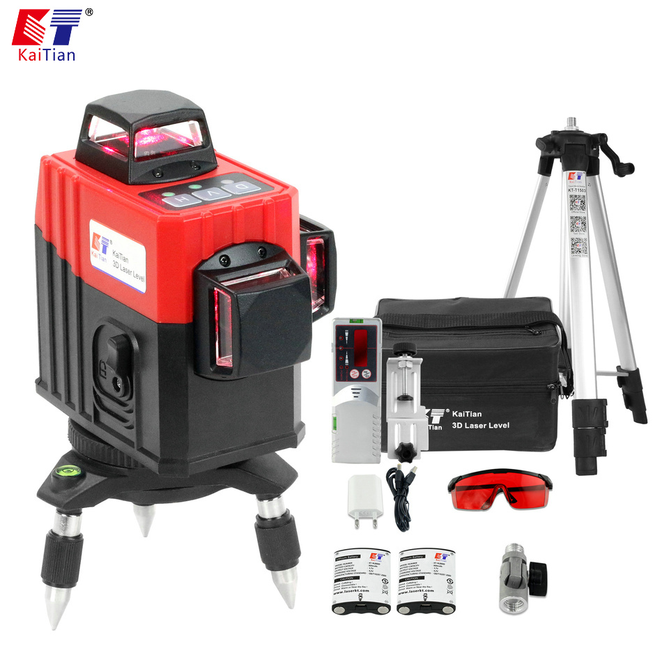 KaiTian 3D Laser Level 12 Lines Lithium Battery Self Leveling 360 Horizontal Vertical Cross Line Lasers