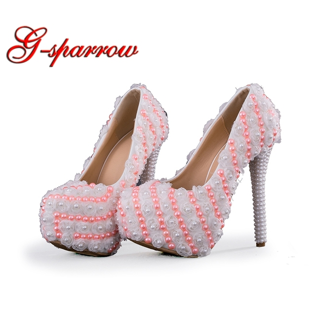 74be44c97 2018 Princess High Heels White Lace Wedding Bridal Dress Shoes Pink Pearl  Adult Ceremony Pumps Bridesmaid