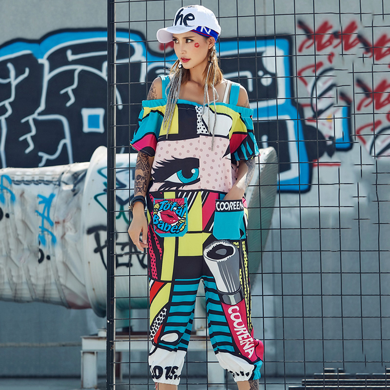 Hip Hop Costume Personalized Cartoon Strapless Jumpsuit Women Rave Outfit Adults Jazz  Street Dance Clothing NightclubDj DT907