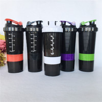 Hot Sale 1pcs 3 Layers Multifunction Sports Fitness Gym Milkshake Protein Shaker Blender Mixer Cup 600ml