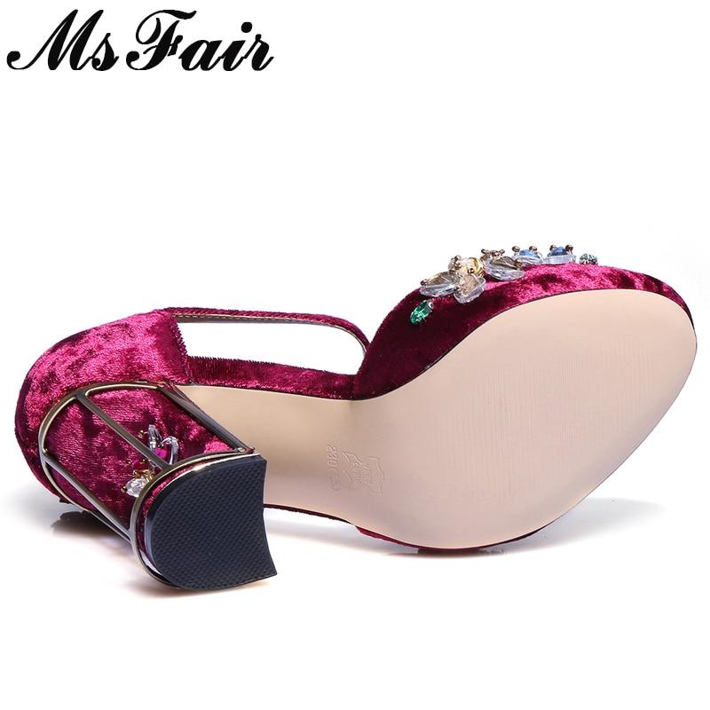 pourpre Mode Femme En Marque rouge Décoration Chaussures Métal Noir Fleur Cristal Msfair Sandales Femmes Boucle Talons Hauts TqRAnZ